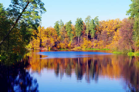 Picturesque autumn landscape of river and boat Stock Photo - 8132786