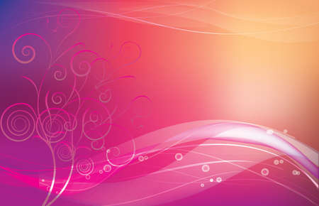 intuition: abstract pink background with floral on the left