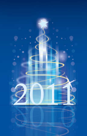 happy new year 2011 on the blue background Stock Photo - 8293608