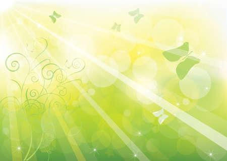 明るい背景の抽象的なグリーンのボケ味。  イラスト・ベクター素材