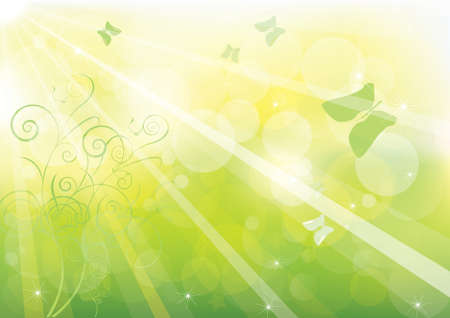 green bokeh abstract light background.  Illustration