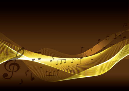 Golden music background with note. Vector