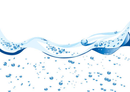 Elegant wave design with water bubbles