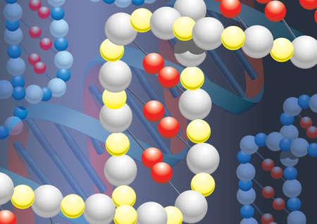Moleküle der DNK mit Metall-Hintergrund