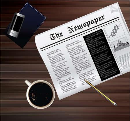 木製のテーブルの上のコーヒー カップとニュース紙のベクトル イラスト