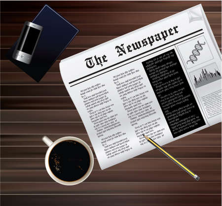 Vector illustration of coffee cup and news paper on wooden table