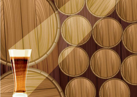 beer barrel: Wooden barrels and cup of beer.