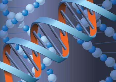 Moleküle DNK mit Metall-Hintergrund  Illustration