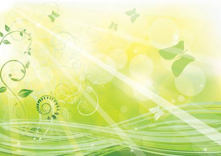 抽象的な背景が緑に点灯します。  イラスト・ベクター素材