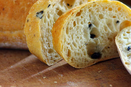 Close-up on traditional bread with olive. Shallow DOF Stock Photo - 9131546