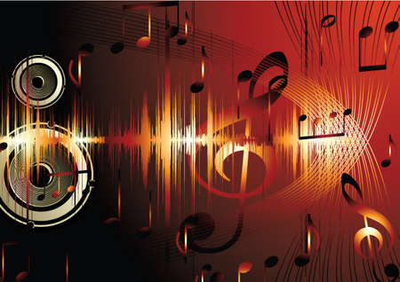 Golden music background with note. Stock Vector - 9333553