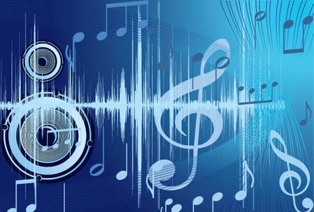 Blue music background with note.  Vector