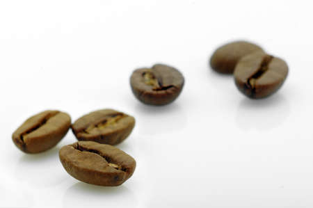 focus on a coffee bean in front of others on white background  photo