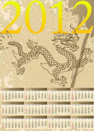 Grunge background with dragons, that is symbol of the year 2012