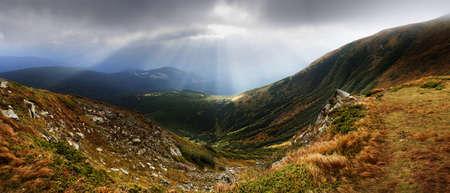 Autumn morning mountain plateau landscape  Carpathian, Ukraine   photo