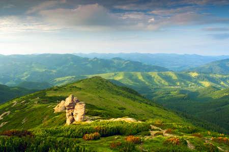 evening mountain plateau landscape (Carpathian, Ukraine)  photo