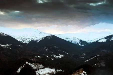 winter evening: Winter evening mountain plateau landscape (Carpathian, Ukraine) Stock Photo