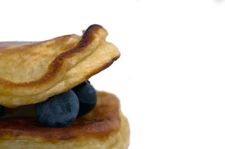 maple syrup: Delicious pancakes close up, with fresh blueberries and maple syrup Stock Photo
