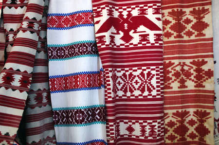 fabric patterns: Ukrainian folk wedding towel texture for background