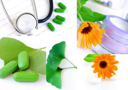 homeopatia: Vaus la homeopat�a im�genes relacionadas en un collage Foto de archivo