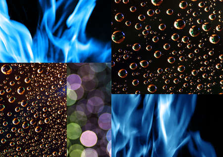 refreshed: Water, circular reflection and blue fire background