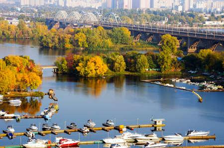 River and Kiev railway bridge, autumn, nature