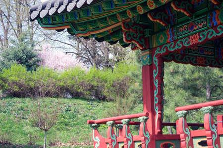 pavillion: Kyiv Botanical Garden named Grishko, opened exhibition Korean garden Pavilion (Pagoda) is similar to pavilion Aeryundzhun, located in Palace Changduk in Seoul, Korea.