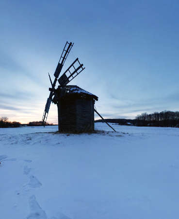 ethnographic: Old wooden windmills at Pirogovo ethnographic museum, near Kiev, Ukraine Editorial