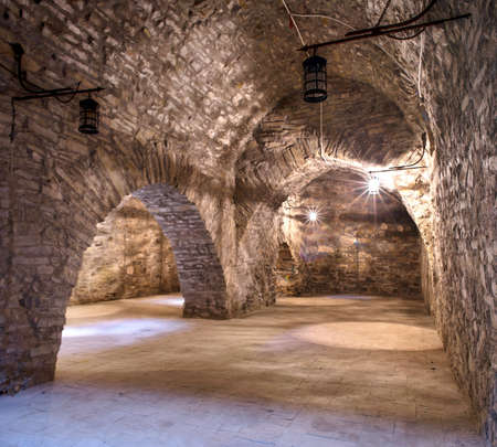 wraith: underground in a medieval castle. Ukraine, Khotyn fortress.
