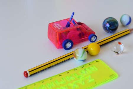 Schools supplies on white background