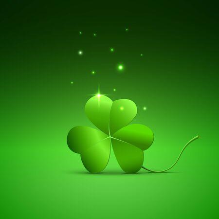 three leaf: Three clover leaf on green background, vector for St. Patricks day Illustration