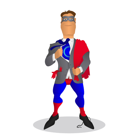 unbuttoned: businessman turns into superhero. Illustration