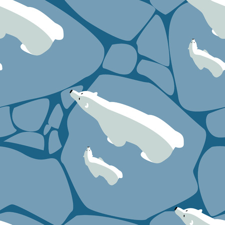 Vector seamless pattern with polar bear and bear cub walking on ice Illustration