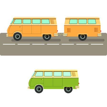 summer vacation: Vector illustration retro camper van.The journey by car. Small car with a trailer to travel. Retro car rides on nature. Car for the whole family.