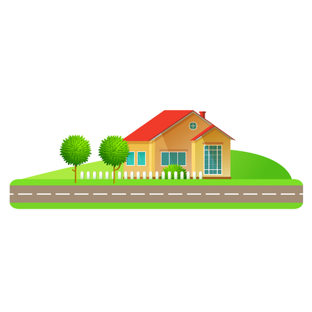 facade and house: Flat design style vector illustration. Sammer landscape family house.