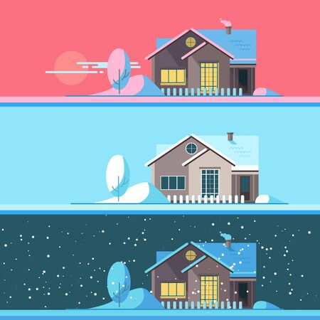 suburban home: Winter home in the afternoon, night and night. Family suburban home. Vector flat illustration.
