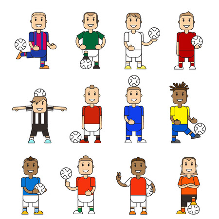 standing on white background: Set character soccer players football team standing white background. Vector flat illustration football player posing with the ball in different team uniforms. Ball in hands, hits ball with foot.