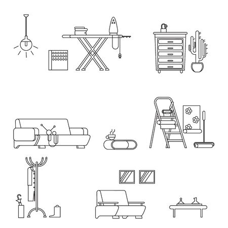 stoke: Set home furniture  thin line styl on white backgrounde. Line icon home furniture isolated. Vector stoke illustration Illustration