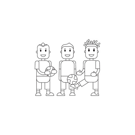 soccer team: Set character soccer players football team standing isolated background. Vector flat illustration football player posing with the ball in  team uniforms. Thine line character soccer players
