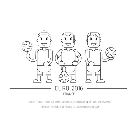 baner: Soccer Football team players. Vector flat illustration of a football player posing with the ball for baner, card
