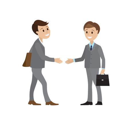 두 기업인 및 비즈니스 악수의 모임입니다. 비즈니스 정장에 젊은 남자가 자신의 손을 파트너에게 인사말에 보유하고있다. 두 남자의 악수