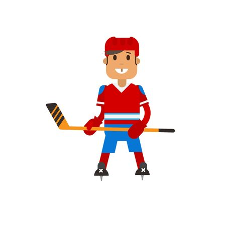 ice hockey player: Vector illustration of hockey player with hockey stick in hand on the ice. Hockey player are posing in uniform. Flat character design.
