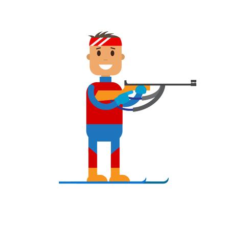 그의 손에 제복을 입은 소총을 보유하는 바이 아스톤 선수의 벡터 일러스트 레이 션. 플랫 디자인 겨울 스포츠입니다. 일러스트