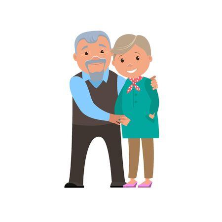 grand parents: Happy couple  grandparents smile. Vector cartoon illustration. Illustration