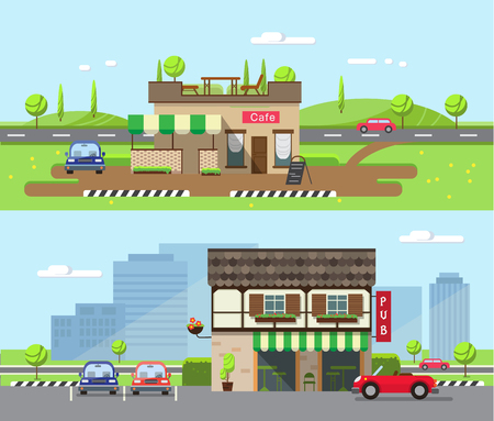 architectural lighting design: Stock vector illustration city street with cafe and restaurant, pub in flat style element for infographic, website, icon, games, motion design, video