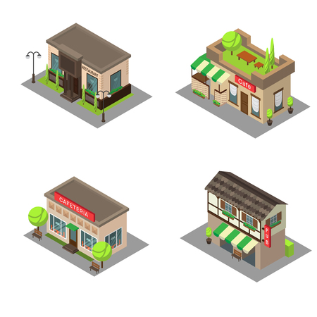 awnings: Set vector isometric city building pub, cafe, restaurant. Isometric icon or infographic element pub, cafe and restaurant on white background. Illustration