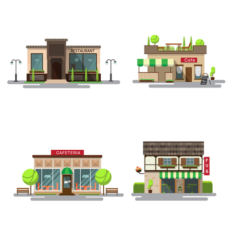 cafeteria: Vector set of detailed flat design city public buildings. Restaurants and cafe, cafeteria, coffee house and bub facade icons on white background