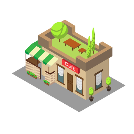 window case: Vector isometric building street cafe. Isometric icon or infographic element street cafe on white background.