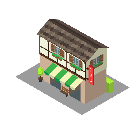 awnings: Vector isometric building pub or cafe. Isometric icon or infographic element pub or cafe on white background. Illustration