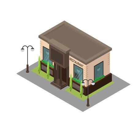 window case: Vector isometric building restaurant. Isometric icon or infographic element restaurant on white background.